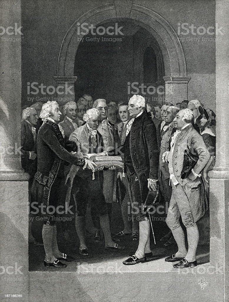 First Inauguration Of George Washington vector art illustration