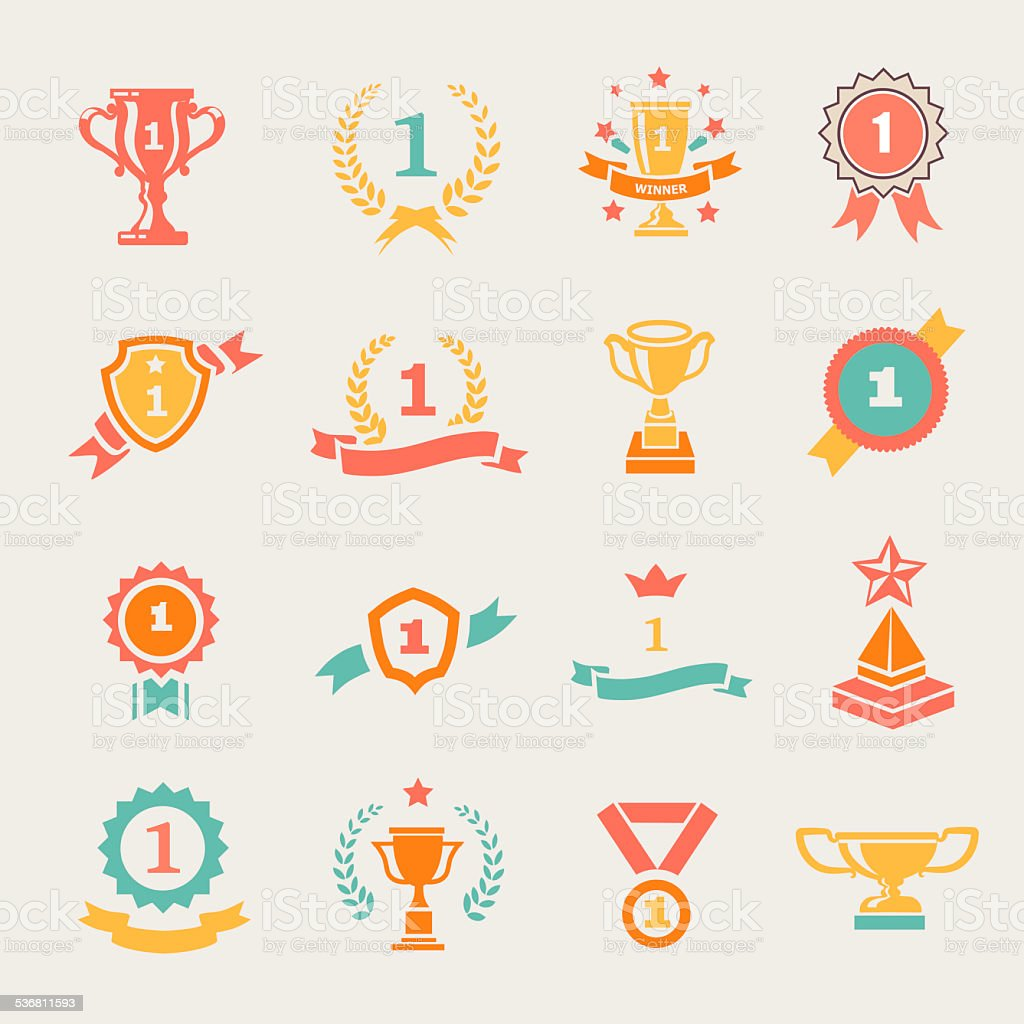 First Place Badges and Winner Ribbons  illustration vector art illustration