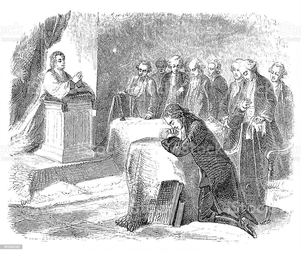 First Prayer in Congress, 1774 royalty-free stock vector art