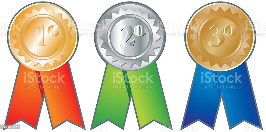 First Second Third - three medals royalty-free stock vector art