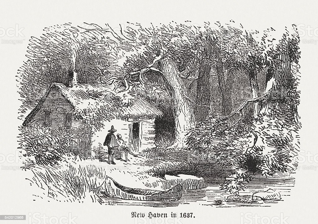 First settelers in New Haven, Connecticut, wood engraving, published 1884 vector art illustration