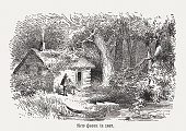 First settelers in New Haven, Connecticut, wood engraving, published 1884