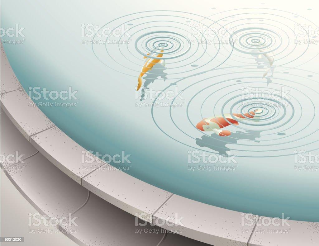Fish in fountain pool vector art illustration