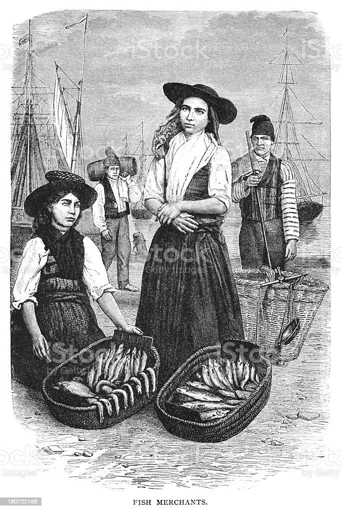 Fish merchants in Malta vector art illustration