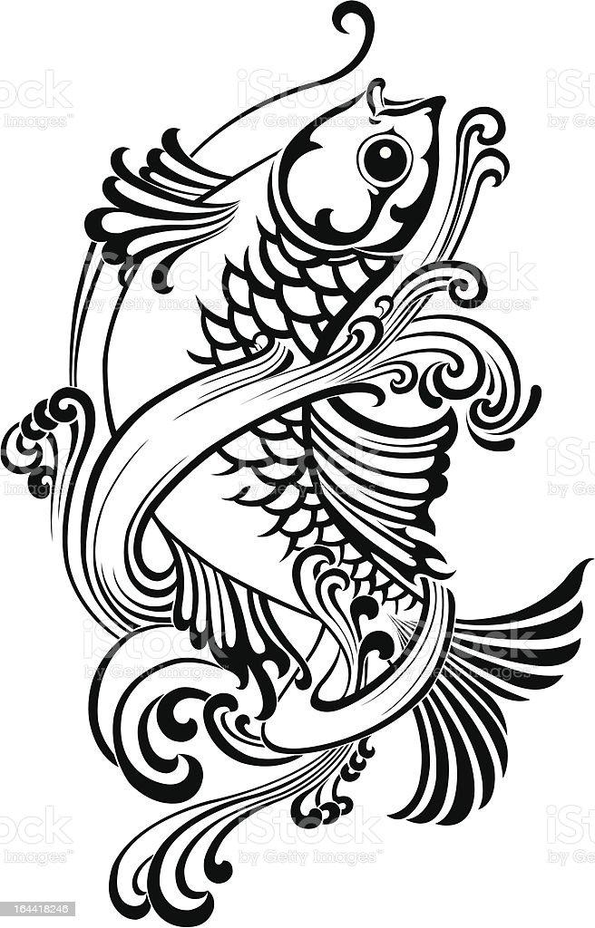 Fish vector tattoo vector art illustration