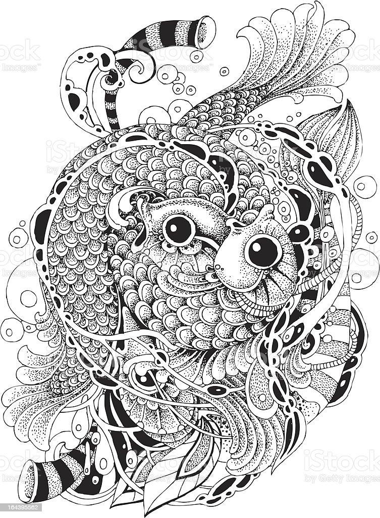 Fish vignettes 2 vector art illustration