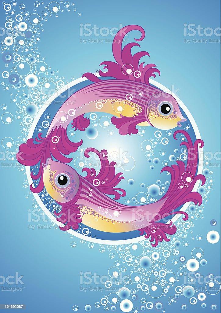 Fish vignettes vector art illustration