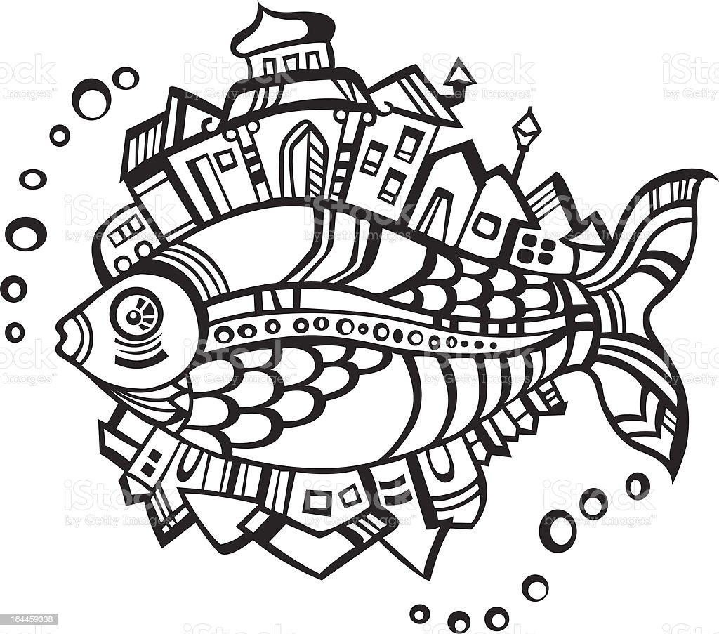 fish with city on back royalty-free stock vector art