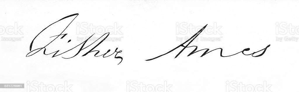 Fisher Ames Signature stock photo