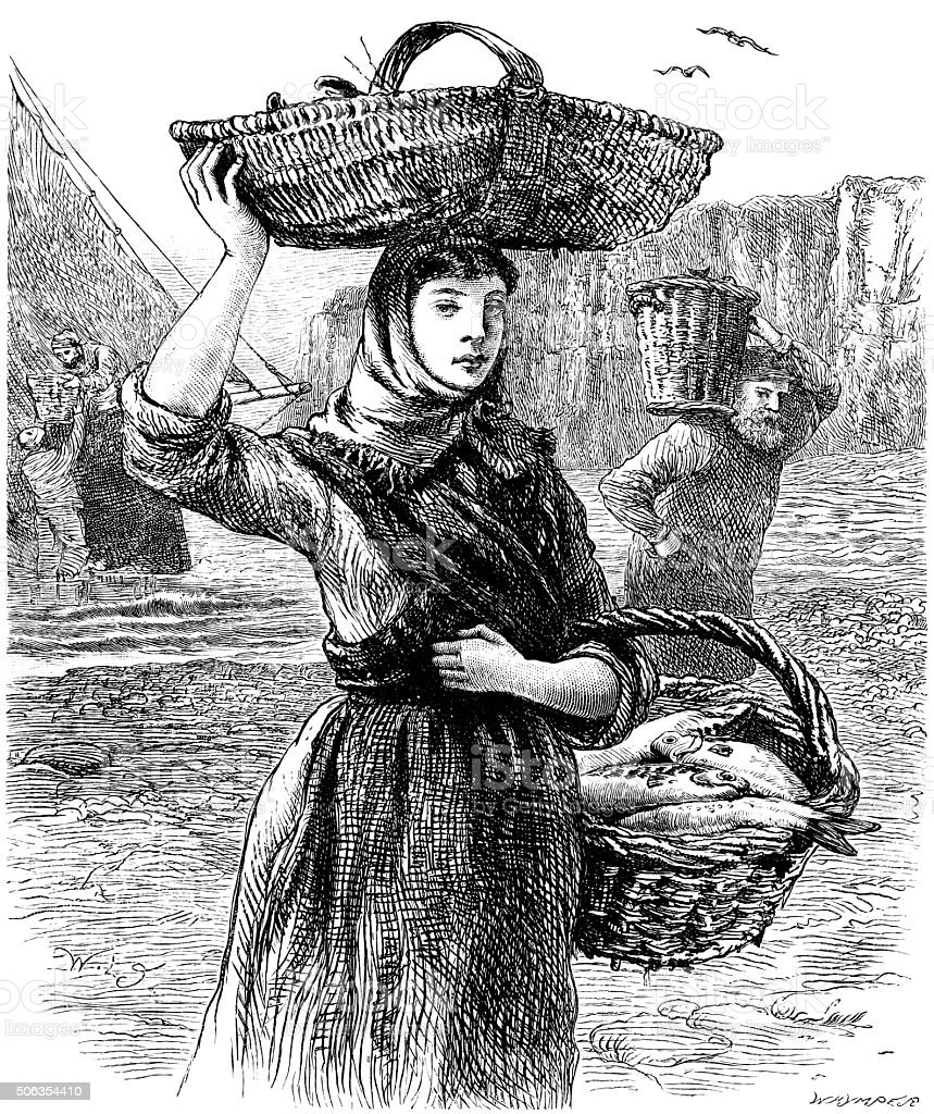 Fisher girl with baskets of fish vector art illustration