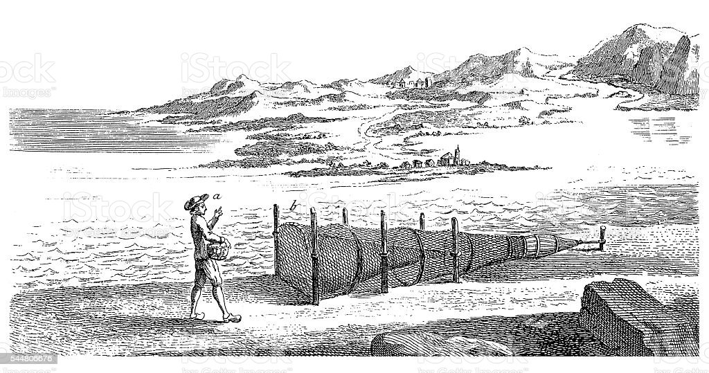 Fisherman and cone fishing net (antique engraving) vector art illustration
