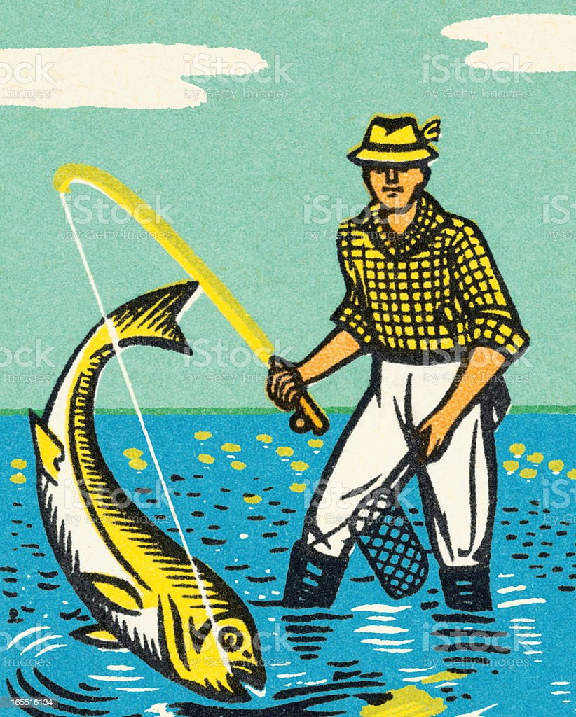 Fisherman Catching a Fish royalty-free stock vector art