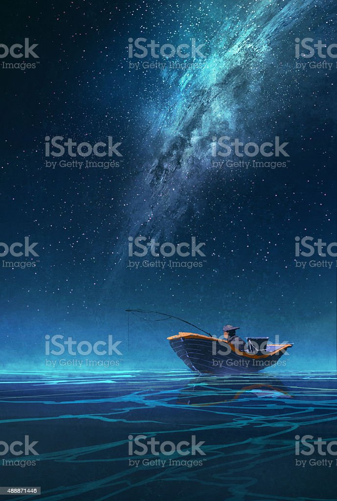 fisherman in a boat at night under the Milky way vector art illustration