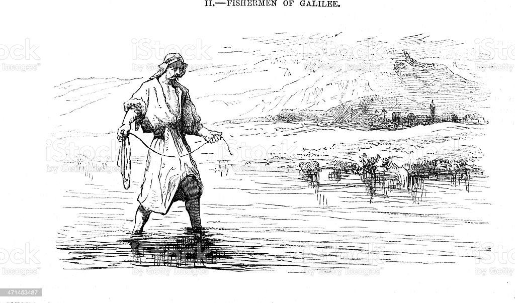 fisherman in Galilee  from 1880 journal vector art illustration