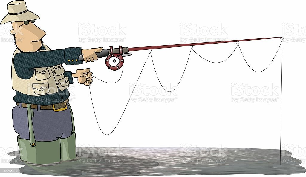 Fisherman in waders II vector art illustration