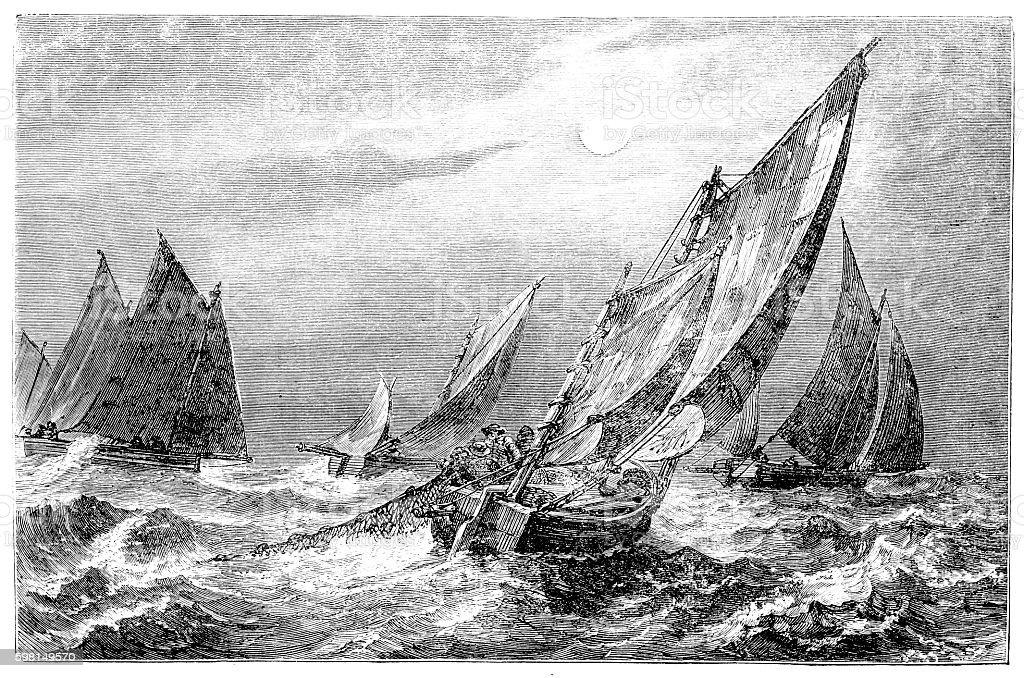 Fisherman on open sea vector art illustration