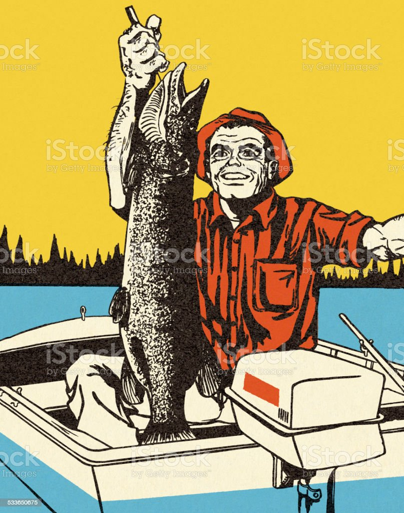 Fisherman with a Big Catch vector art illustration