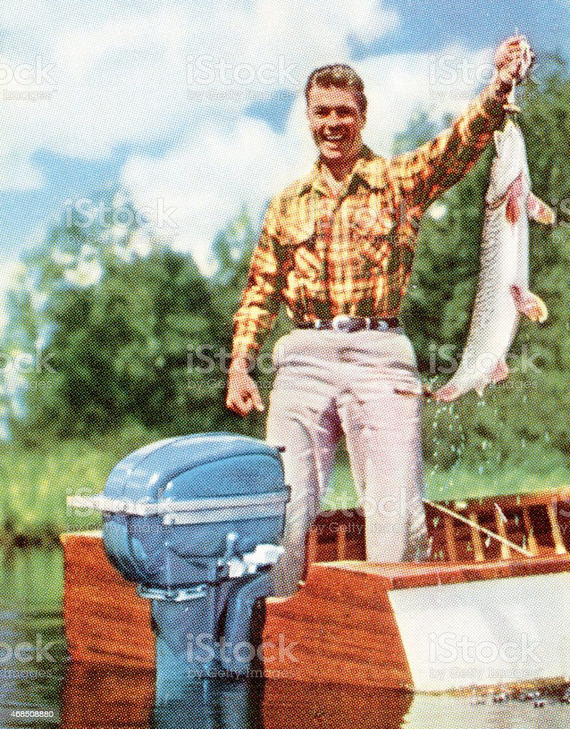 Fisherman with Large Fish vector art illustration