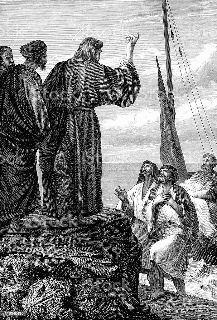 Fishermen Leap From Boat to Join Jesus Christ vector art illustration