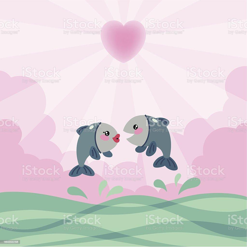 Fishes in Love. vector art illustration
