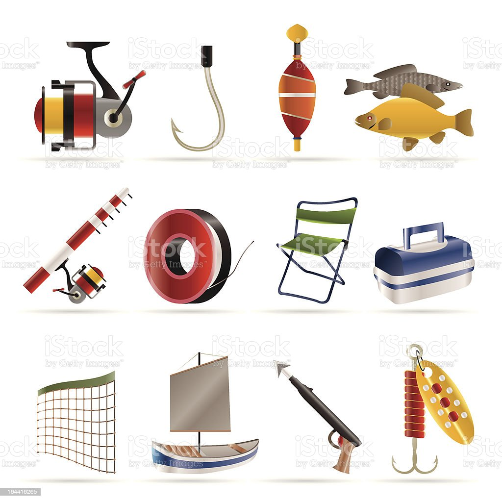Fishing and holiday icons royalty-free stock vector art