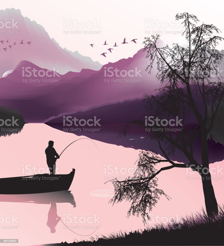 Fishing and Landscape vector art illustration
