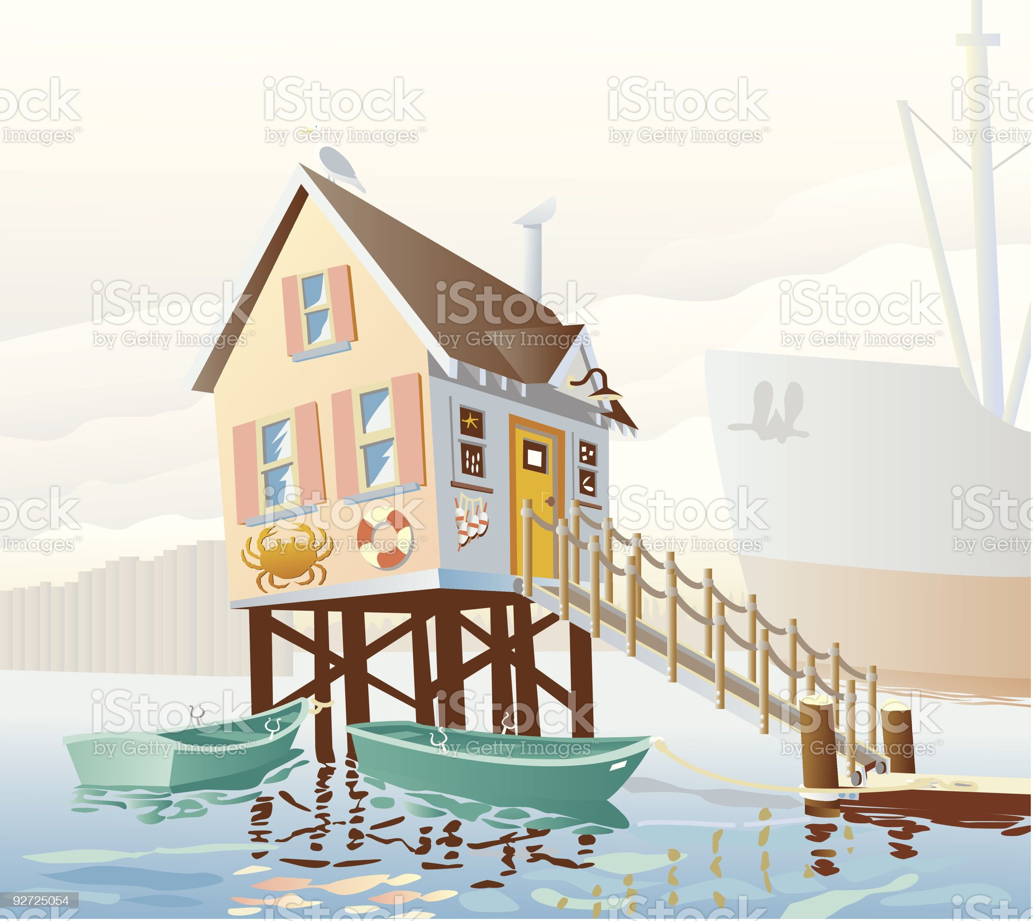 Fishing Bait and Crab Boat  Business royalty-free stock vector art