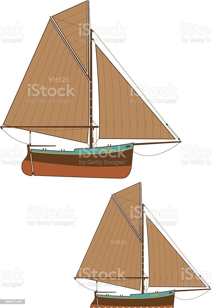 Fishing boat color version vector art illustration