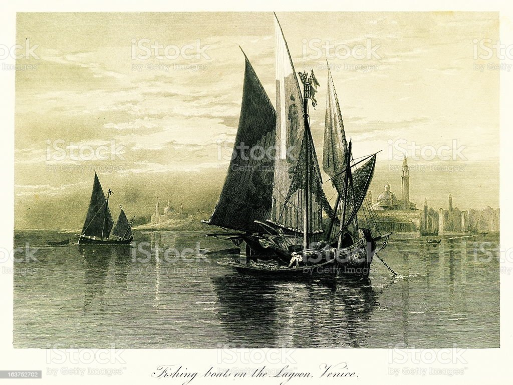 Fishing boats on the Venetian Lagoon, Italy, steel engraving (18 royalty-free stock vector art
