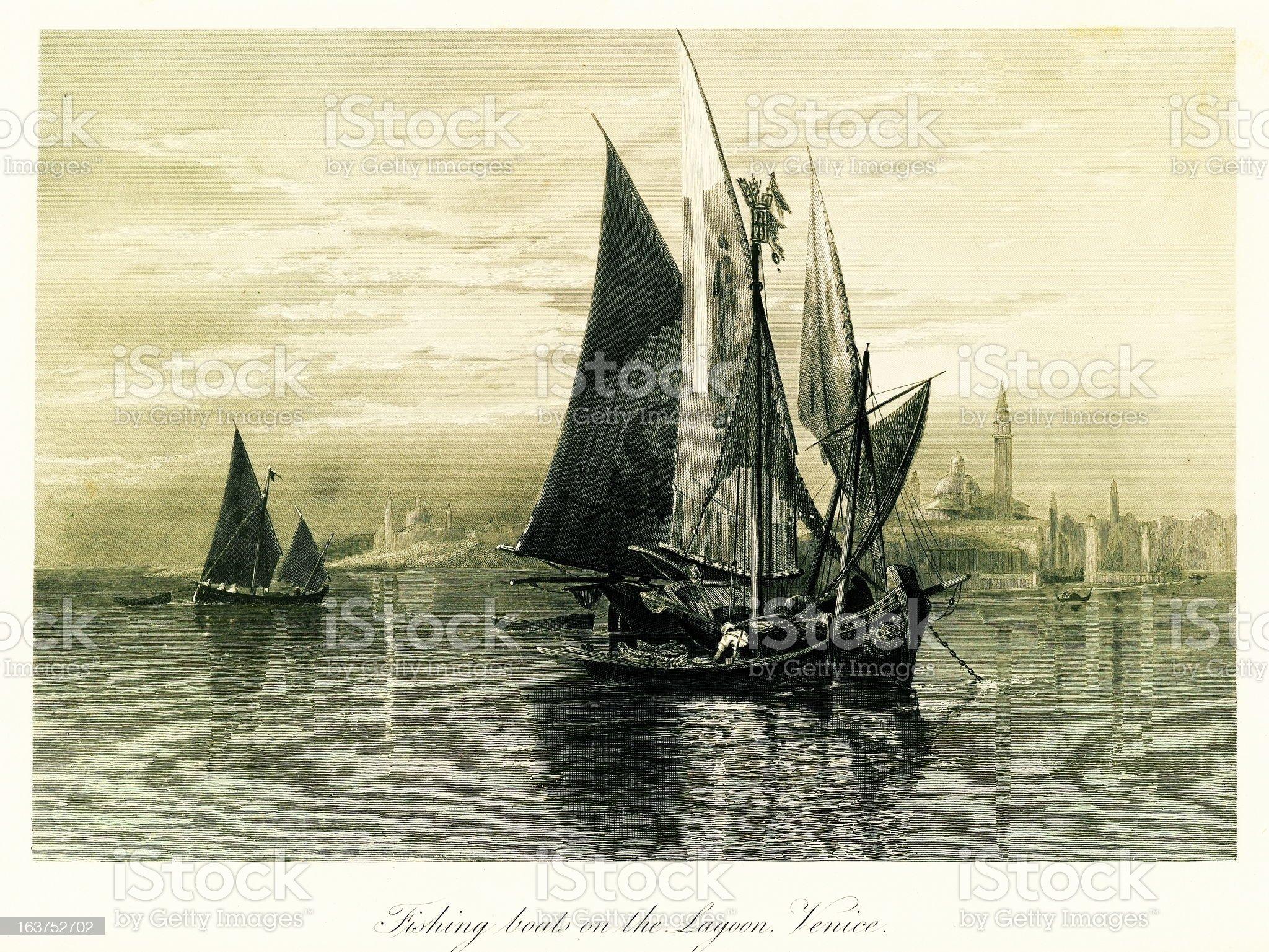 Fishing boats on the Venetian Lagoon, Italy, steel engraving (18 royalty-free stock vector art