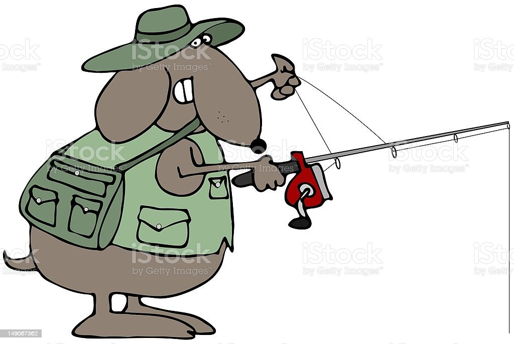 Fishing Dog vector art illustration