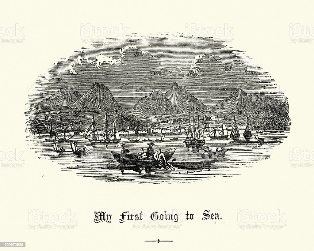 Fishing in the bay, 19th Century vector art illustration