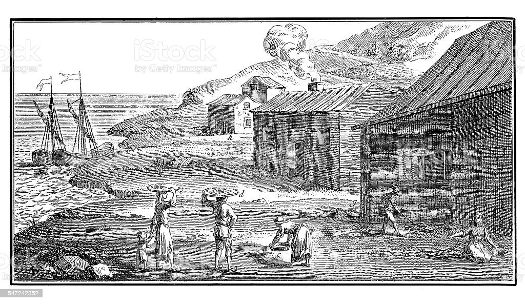 Fishing Industry: Peasants on the coast of Brittany (antique engraving) stock photo