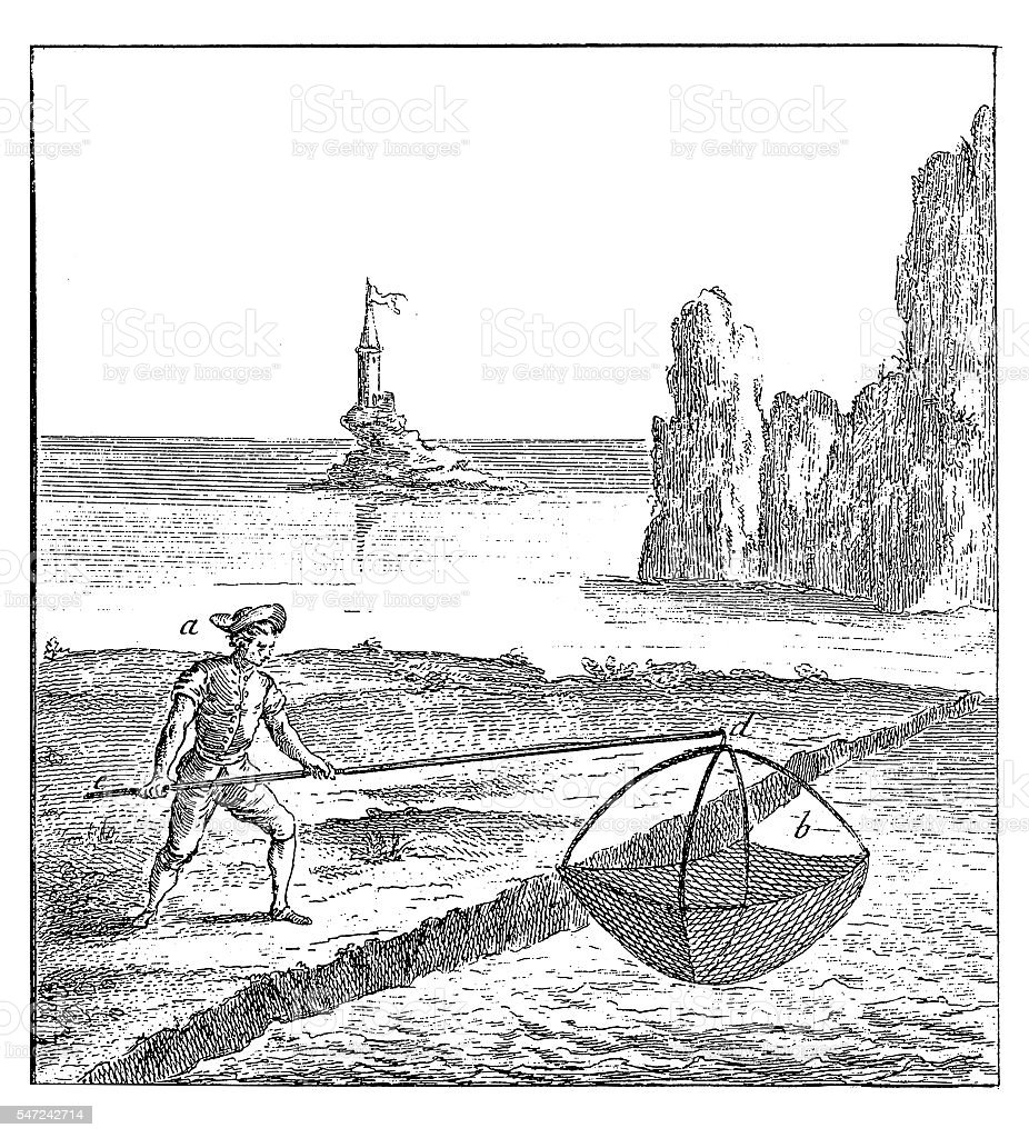 Fishing Industry: Shrimp net (antique engraving) vector art illustration