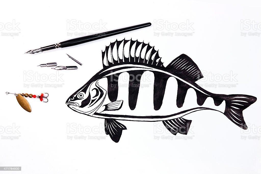 metal cebo de pesca y pluma estilográfica con peces de dibujo de tinta. illustracion libre de derechos libre de derechos