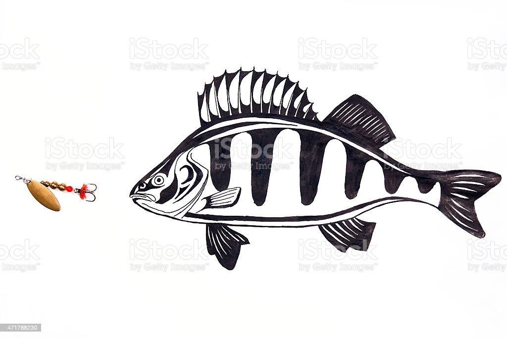 metal cebo de pesca y de pescado de dibujo de tinta. illustracion libre de derechos libre de derechos