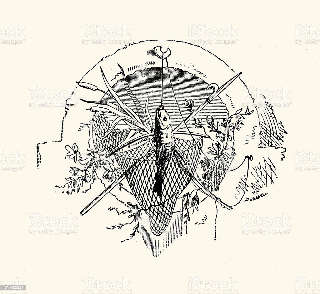 Fishing Motif vector art illustration
