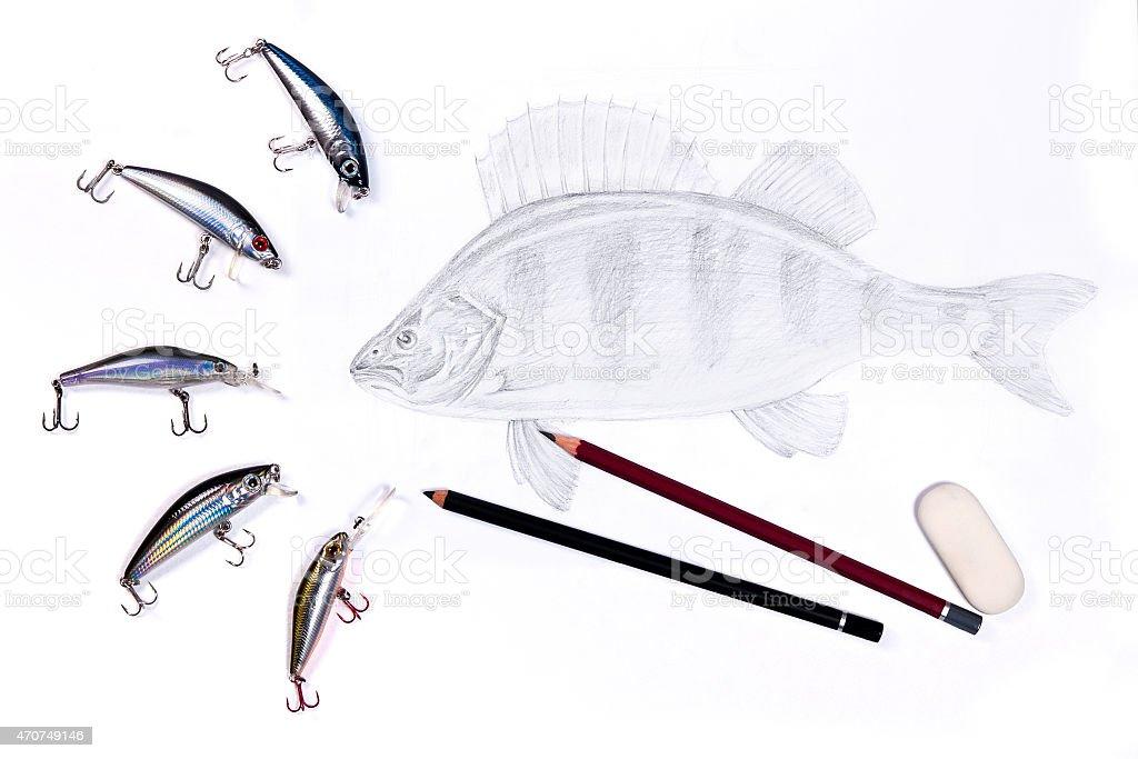 Pesca baits de plástico con extracción de peces. illustracion libre de derechos libre de derechos