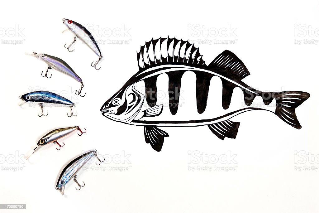 Pesca baits de plástico con peces de dibujo de tinta. illustracion libre de derechos libre de derechos