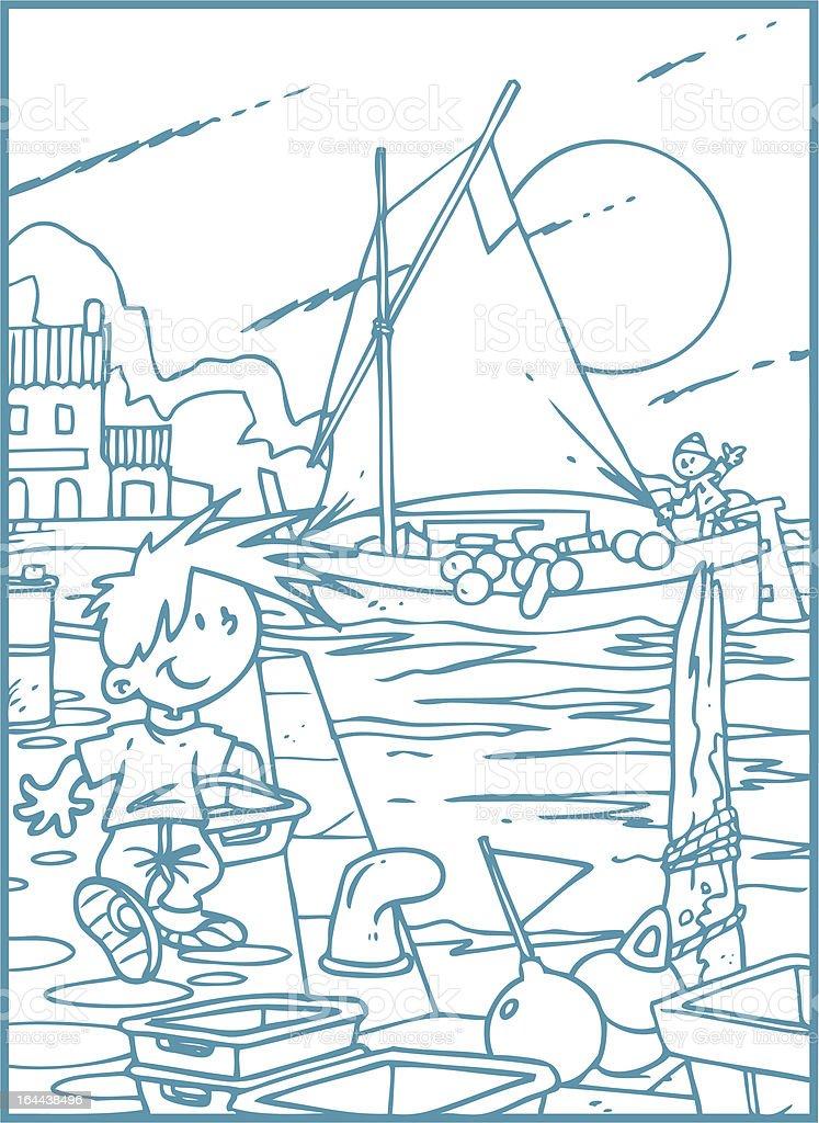 fishing port royalty-free stock vector art