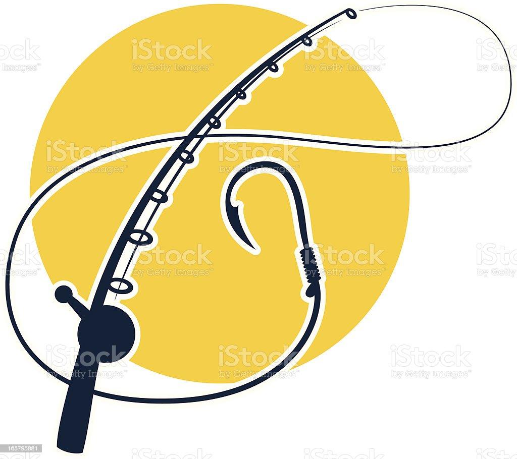 fishing rod graphic vector art illustration