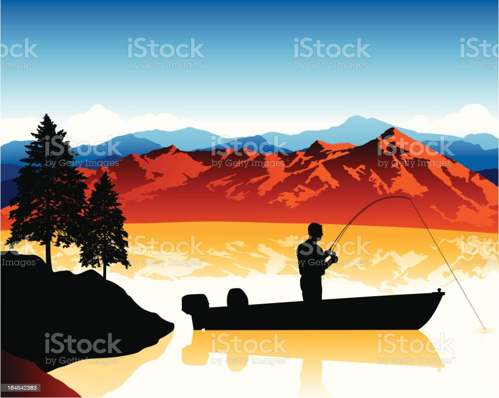 Fishing Scene vector art illustration