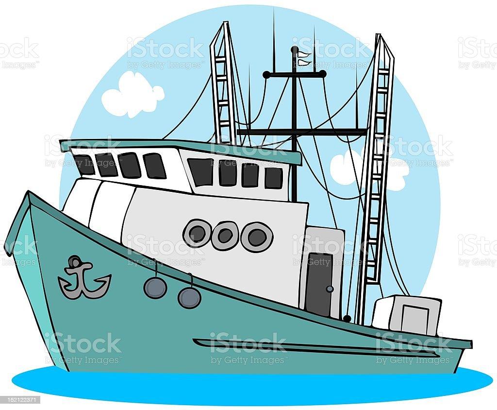 Fishing Trawler vector art illustration