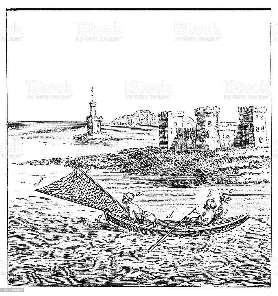 Fishing with shrimp net (antique engraving) vector art illustration