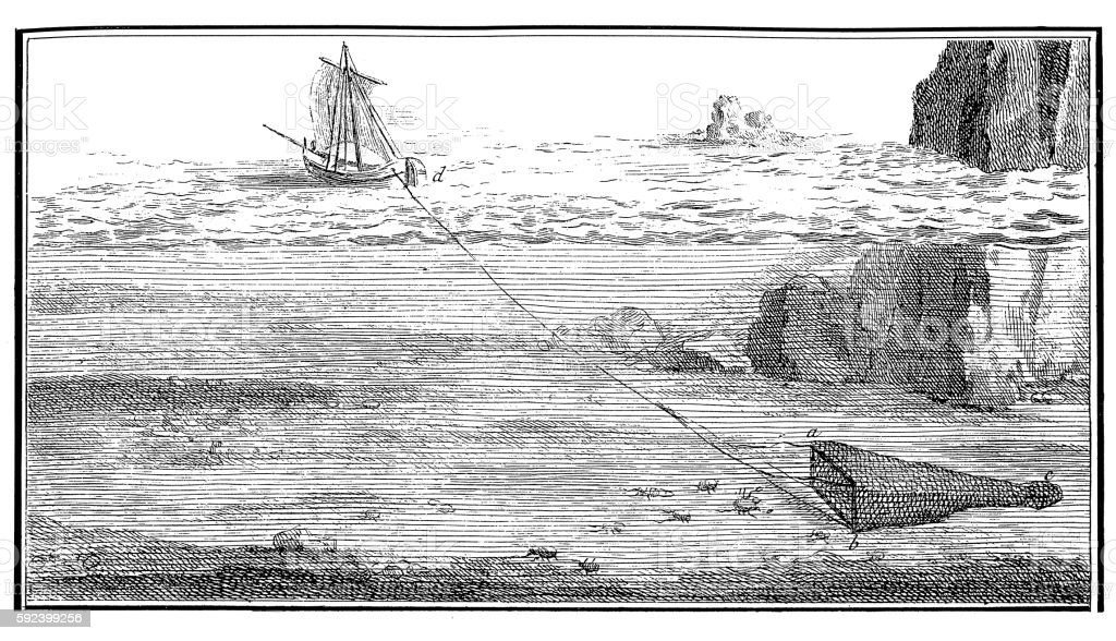 Fishing with trawl net (antique engraving) vector art illustration