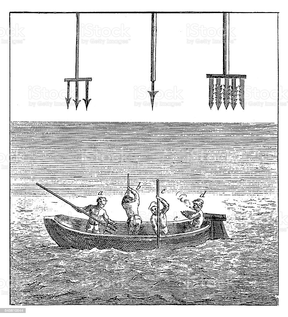Fishing with trident (antique engraving) vector art illustration