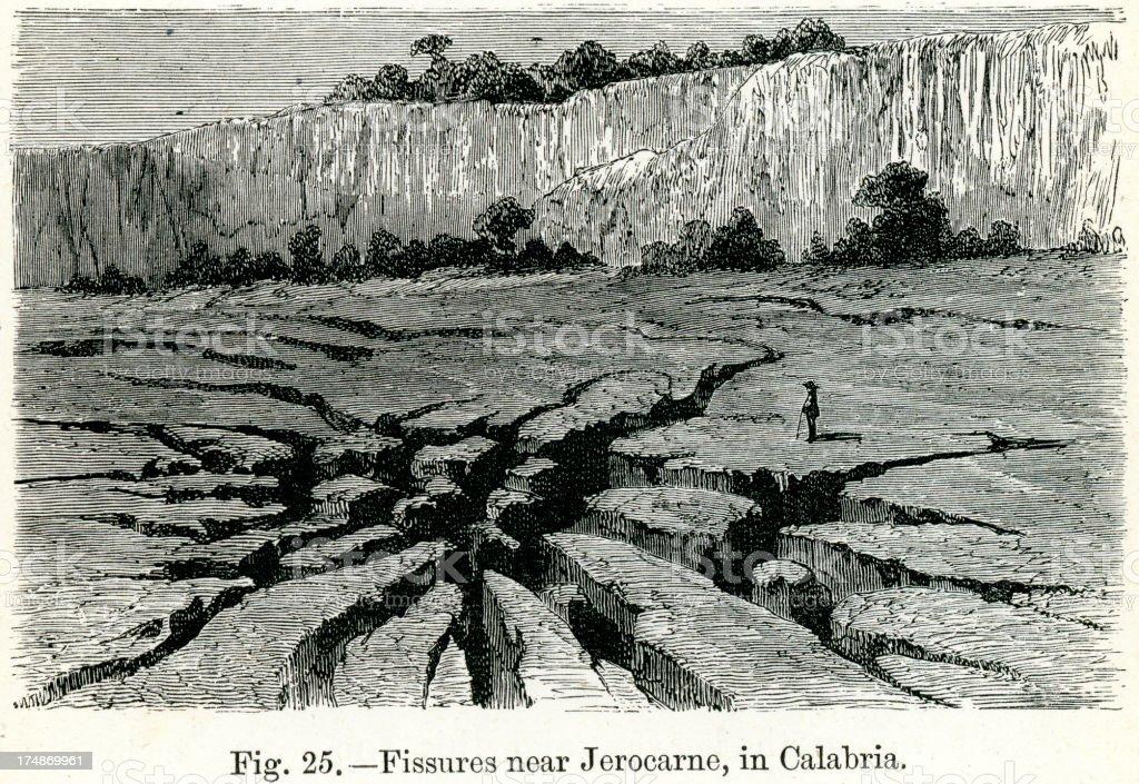 Fissures near Jerocarne vector art illustration