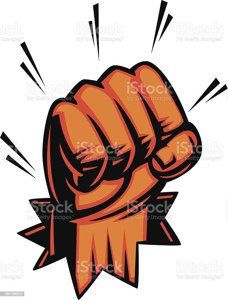 fist punching through vector art illustration