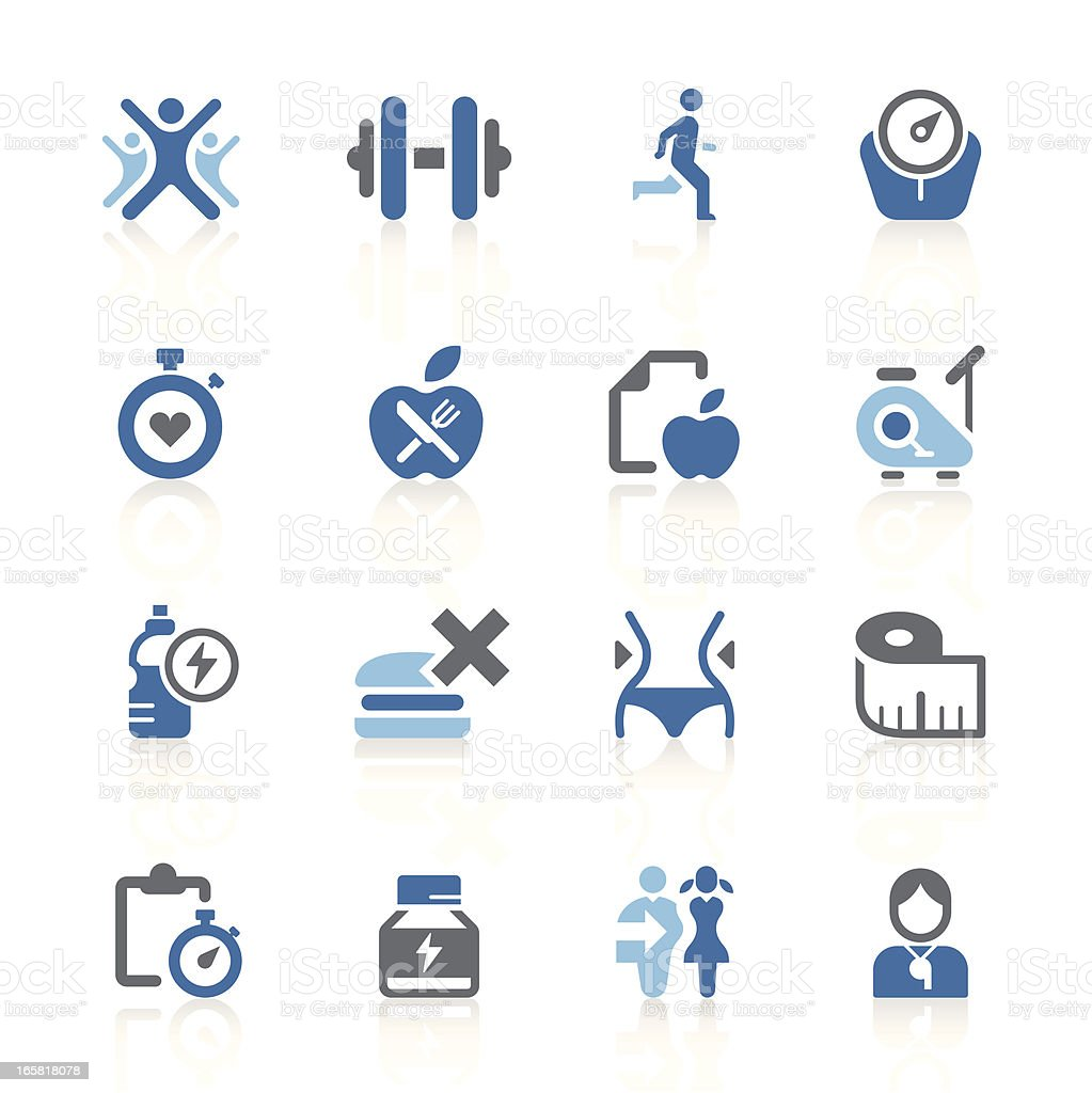 Fitness & exercise icons | azur series vector art illustration