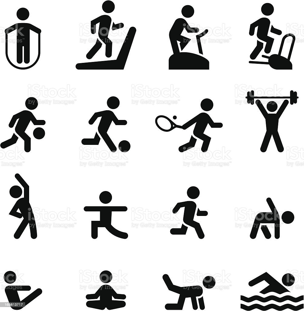 Fitness Icons - Black Series vector art illustration